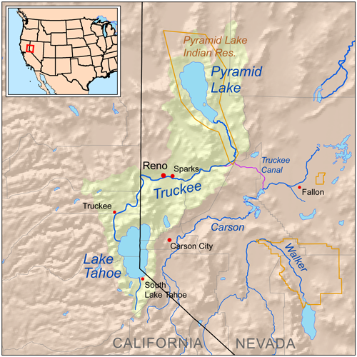 Truckee river Pyramid Lake map
